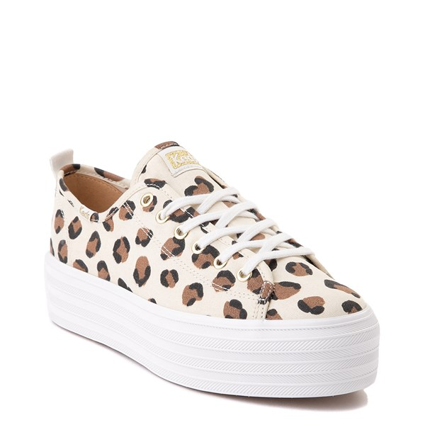 alternate view Womens Keds Triple Up Platform Casual Shoe - Leopard / CreamALT1