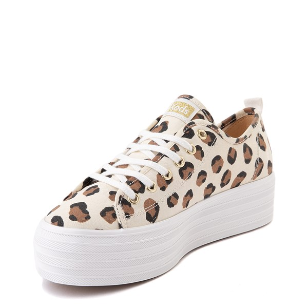 alternate view Womens Keds Triple Up Platform Casual Shoe - Leopard / CreamALT3