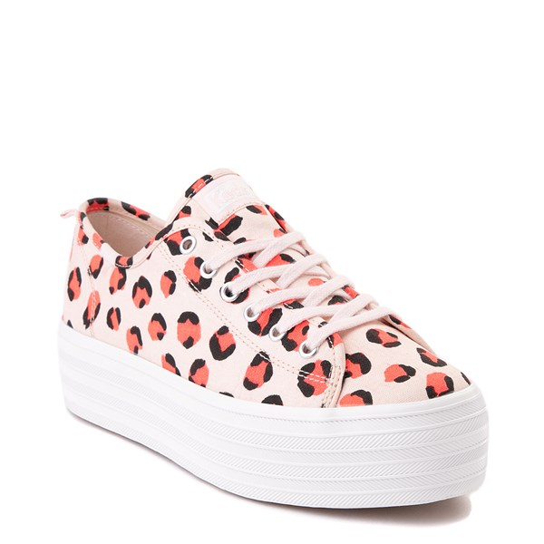 alternate view Womens Keds Triple Up Platform Casual Shoe - Leopard / PinkALT1