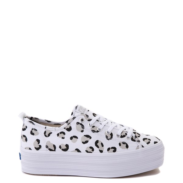 Womens Keds Triple Up Platform Casual Shoe - White / Leopard