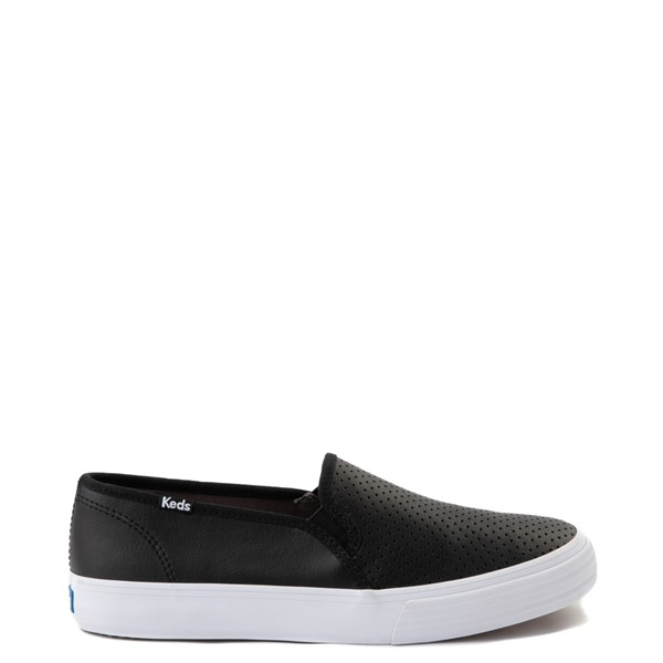 Main view of Womens Keds Double Decker Slip On Perf II Leather Casual Shoe - Black