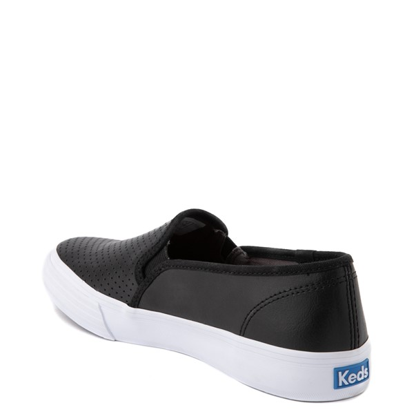alternate view Womens Keds Double Decker Slip On Perf II Leather Casual Shoe - BlackALT1