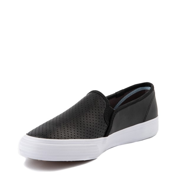 alternate view Womens Keds Double Decker Slip On Perf II Leather Casual Shoe - BlackALT2