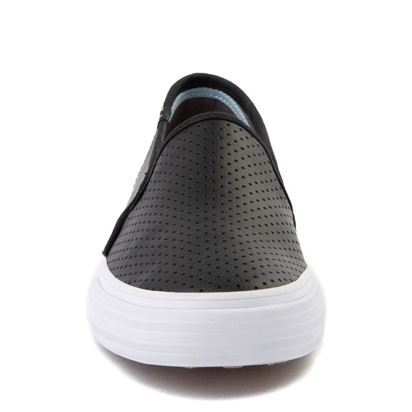 alternate view Womens Keds Double Decker Slip On Perf II Leather Casual Shoe - BlackALT4