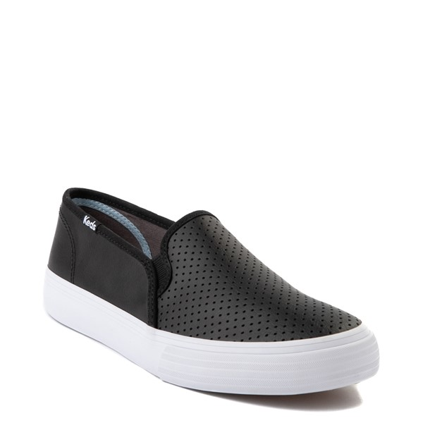 alternate view Womens Keds Double Decker Slip On Perf II Leather Casual Shoe - BlackALT5