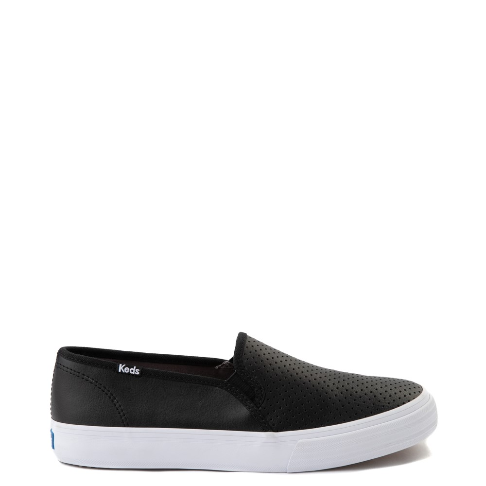 Womens Keds Double Decker Slip On Perf II Leather Casual Shoe - Black