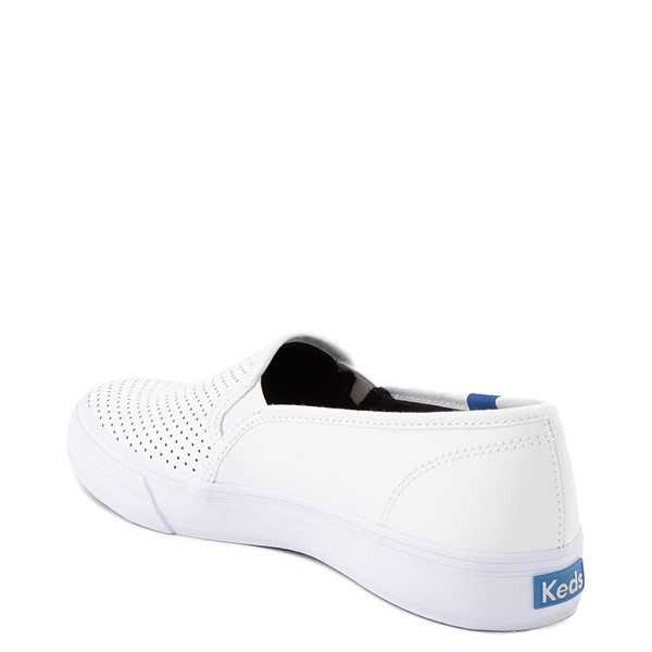 alternate view Womens Keds Double Decker Slip On Perf II Leather Casual Shoe - WhiteALT1