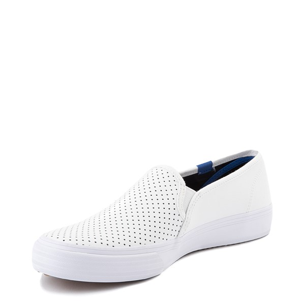 alternate view Womens Keds Double Decker Slip On Perf II Leather Casual Shoe - WhiteALT2