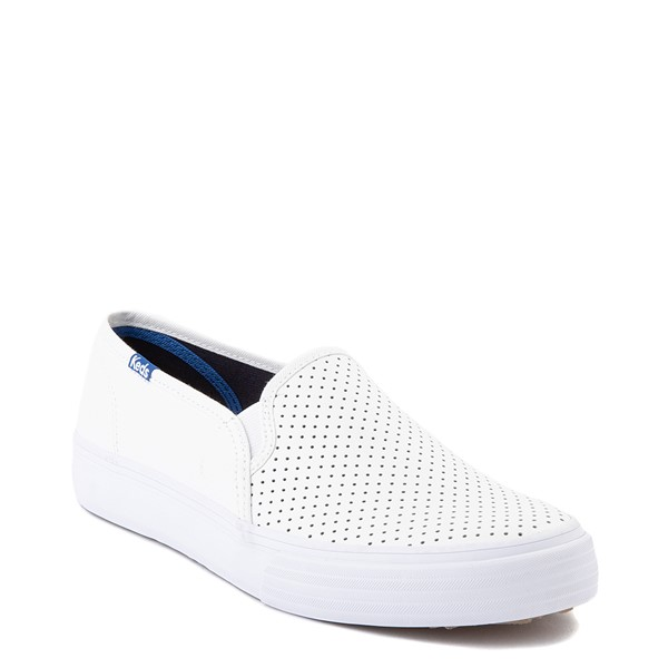 alternate view Womens Keds Double Decker Slip On Perf II Leather Casual Shoe - WhiteALT5