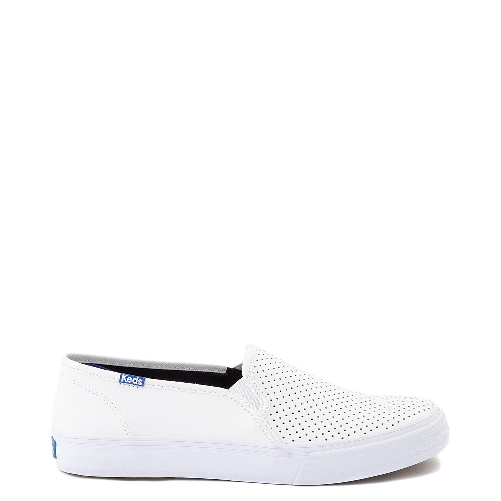 Womens Keds Double Decker Slip On Perf II Leather Casual Shoe - White