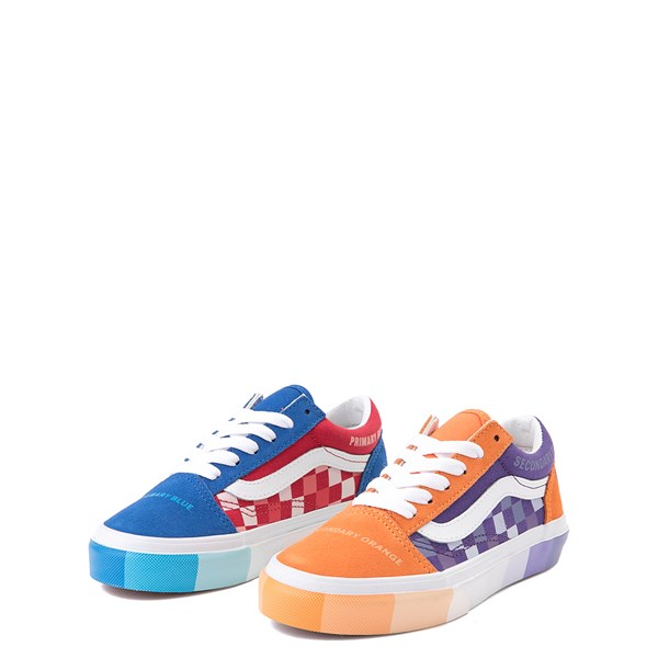 alternate view Vans x MoMA Old Skool Color Wheel Checkerboard Skate Shoe - Little Kid - MulticolorALT3