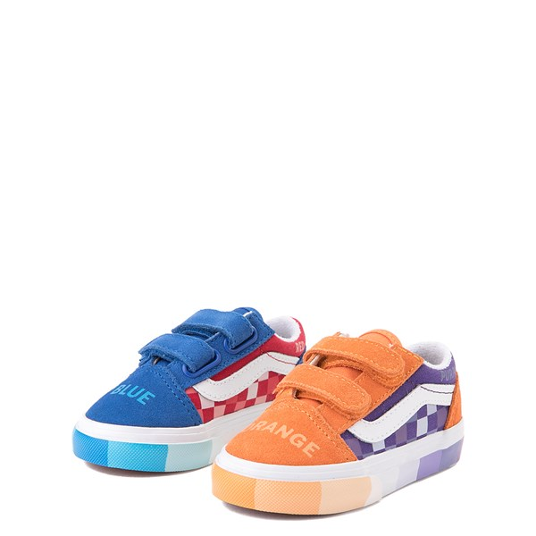 alternate view Vans x MoMA Old Skool V Color Wheel Checkerboard Skate Shoe - Baby / Toddler - MulticolorALT3