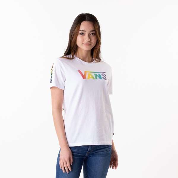 Main view of Womens Vans Checkmate Boyfriend Tee - White / Multi