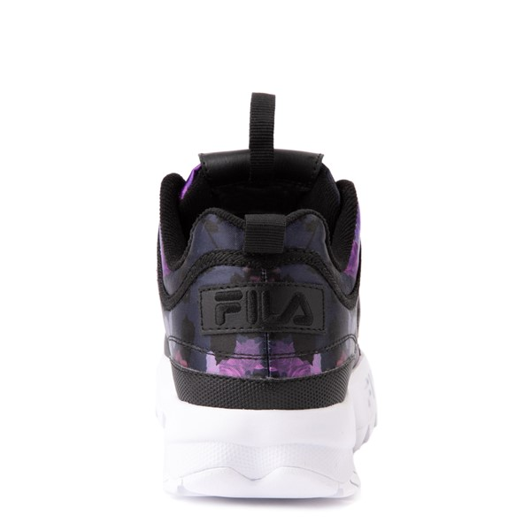 alternate view Womens Fila Disruptor 2 Floral Athletic Shoe - Black / PurpleALT4