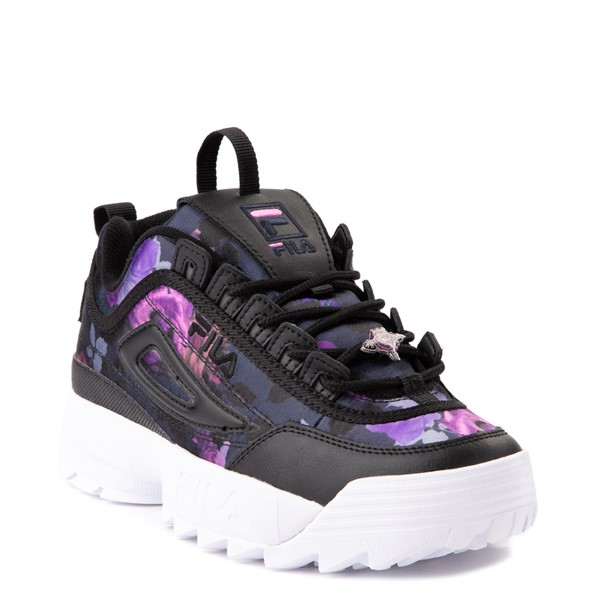 alternate view Womens Fila Disruptor 2 Floral Athletic Shoe - Black / PurpleALT5