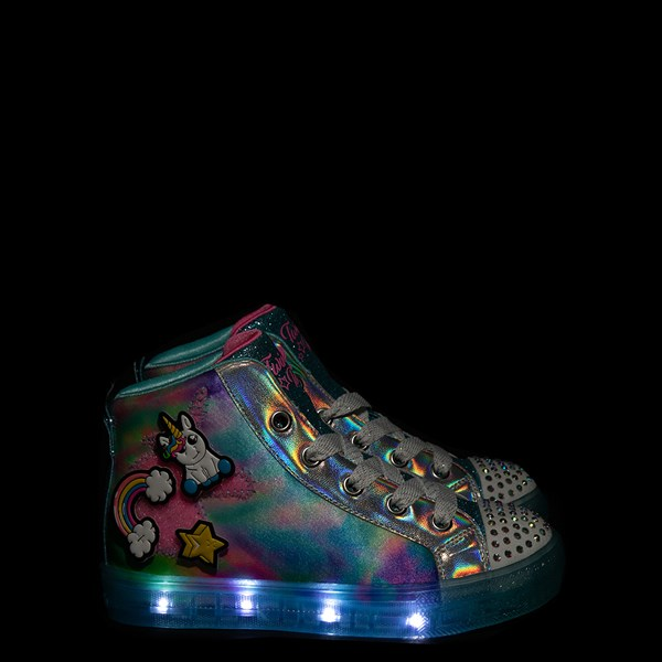 alternate view Skechers Twinkle Toes Shuffle Brights Mix 'n' Patch Sneaker - Little Kid - Aqua / MulticolorALT1