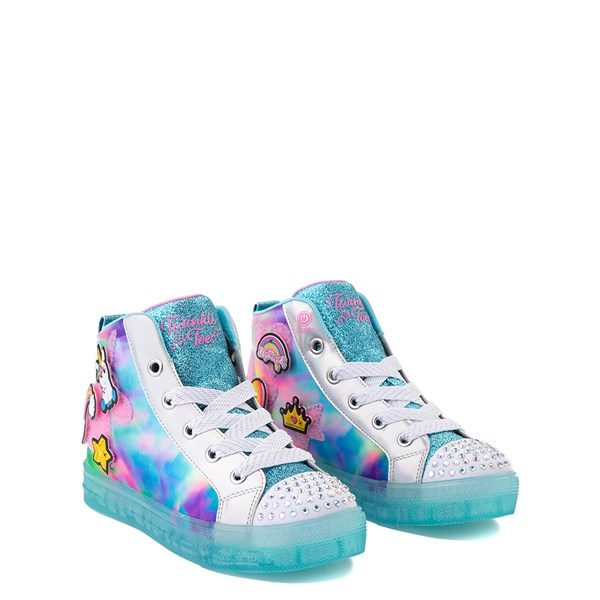 alternate view Skechers Twinkle Toes Shuffle Brights Mix 'n' Patch Sneaker - Little Kid - Aqua / MulticolorALT1B