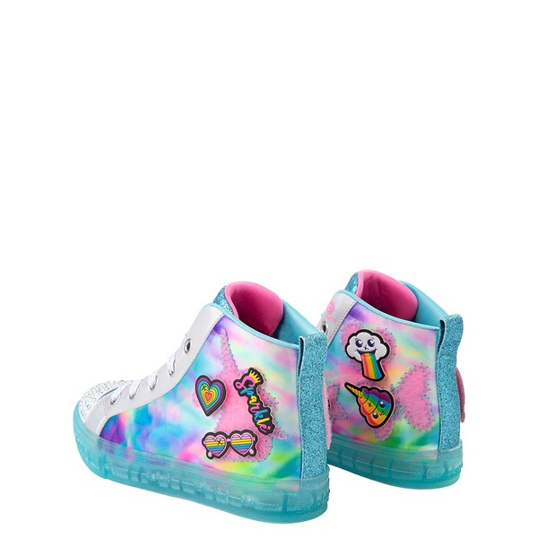 alternate view Skechers Twinkle Toes Shuffle Brights Mix 'n' Patch Sneaker - Little Kid - Aqua / MulticolorALT2