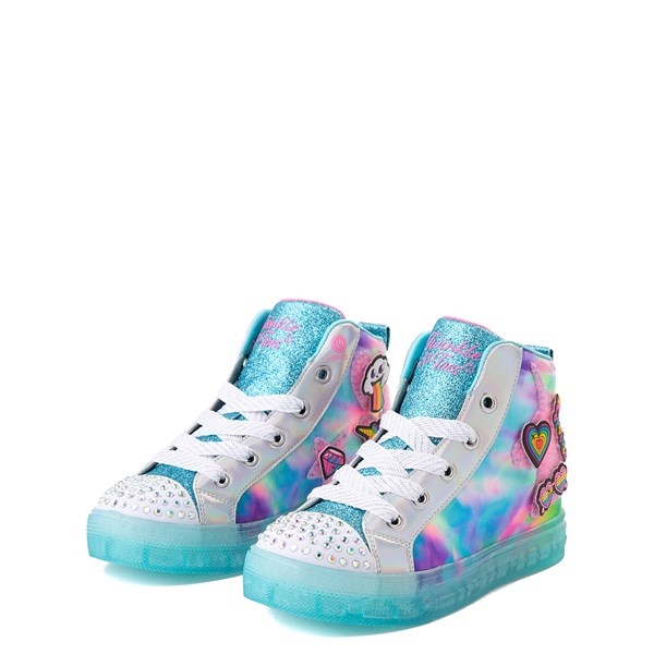 alternate view Skechers Twinkle Toes Shuffle Brights Mix 'n' Patch Sneaker - Little Kid - Aqua / MulticolorALT3
