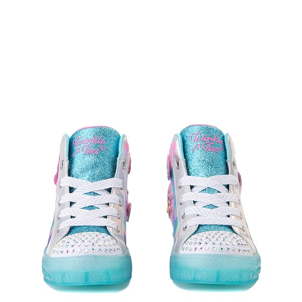 alternate view Skechers Twinkle Toes Shuffle Brights Mix 'n' Patch Sneaker - Little Kid - Aqua / MulticolorALT4