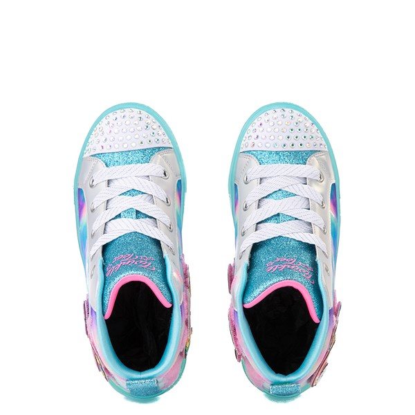 alternate view Skechers Twinkle Toes Shuffle Brights Mix 'n' Patch Sneaker - Little Kid - Aqua / MulticolorALT4B