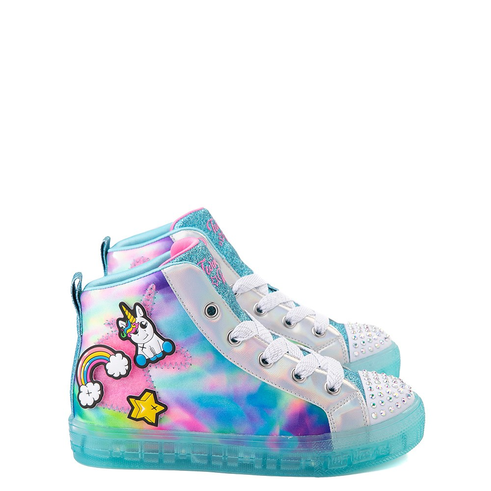 Skechers Twinkle Toes Shuffle Brights Mix 'n' Patch Sneaker - Little Kid - Aqua / Multicolor