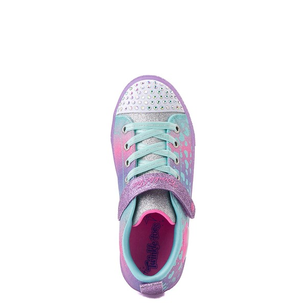alternate view Skechers Twinkle Toes Shuffle Lites Lil Heartbursts Sneaker - Little Kid - Lavender / MulticolorALT2