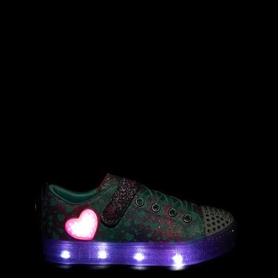 Alternate view of Skechers Twinkle Toes Shuffle Lites Lil Heartbursts Sneaker - Little Kid - Lavender / Multicolor