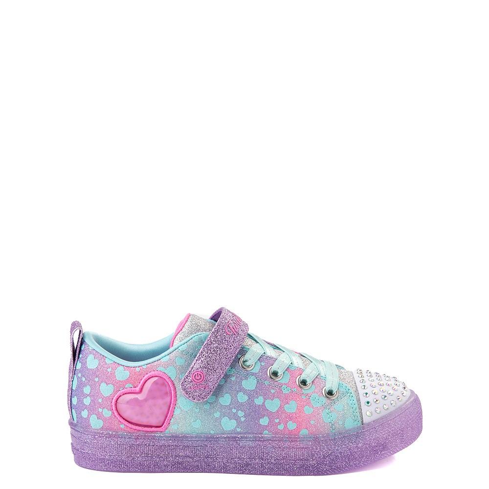 Skechers Twinkle Toes Shuffle Lites Lil Heartbursts Sneaker - Little Kid - Lavender / Multicolor