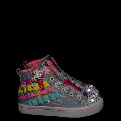 Alternate view of Skechers Twinkle Toes Twi-Lites 2.0 Clip N Joy Sneaker - Little Kid - Silver / Multicolor