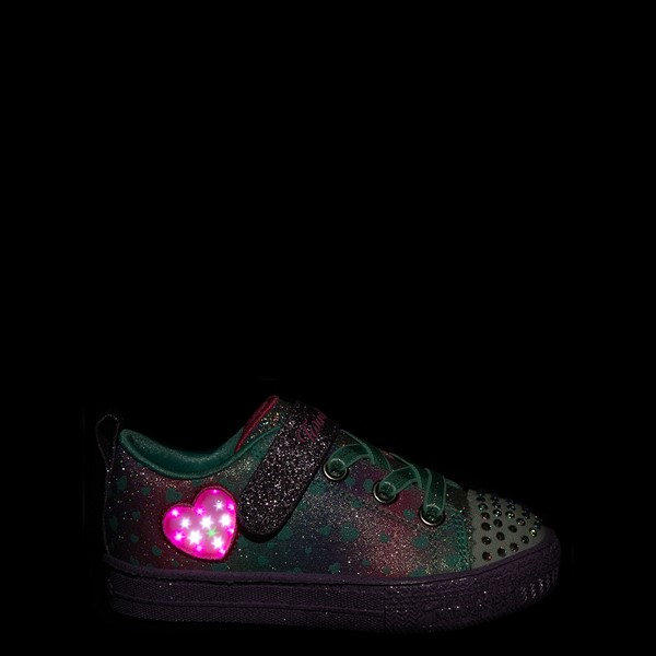 alternate view Skechers Twinkle Toes Shuffle Lites Lil Heartbursts Sneaker - Toddler - Lavender / MulticolorALT1