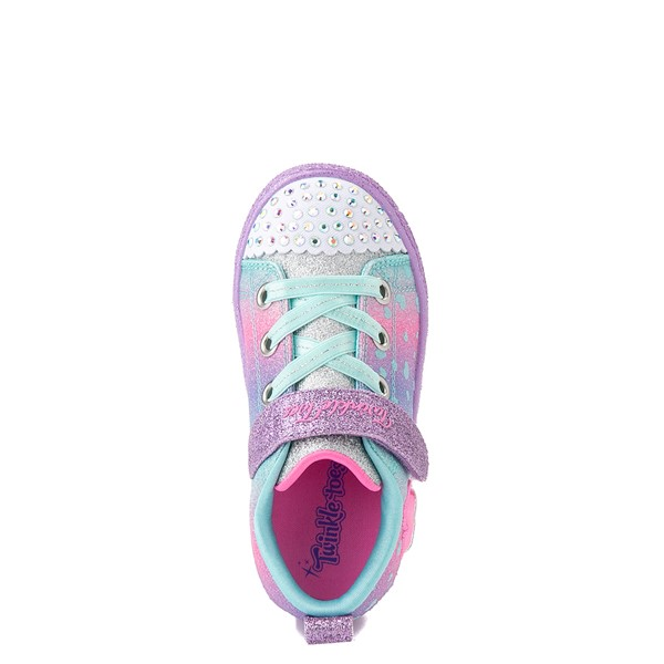 alternate view Skechers Twinkle Toes Shuffle Lites Lil Heartbursts Sneaker - Toddler - Lavender / MulticolorALT2
