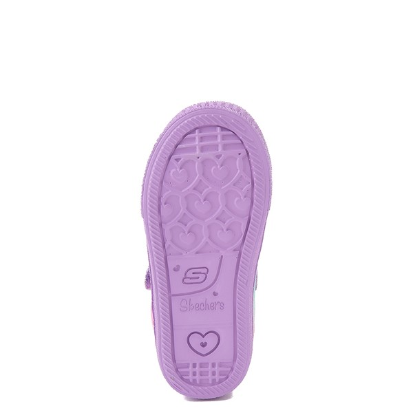 alternate view Skechers Twinkle Toes Shuffle Lites Lil Heartbursts Sneaker - Toddler - Lavender / MulticolorALT3