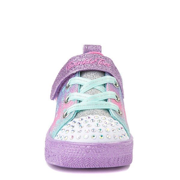 alternate view Skechers Twinkle Toes Shuffle Lites Lil Heartbursts Sneaker - Toddler - Lavender / MulticolorALT4