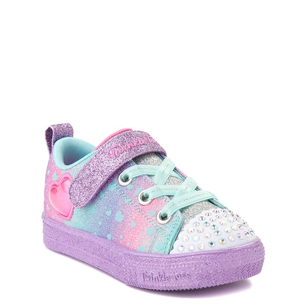 alternate view Skechers Twinkle Toes Shuffle Lites Lil Heartbursts Sneaker - Toddler - Lavender / MulticolorALT5