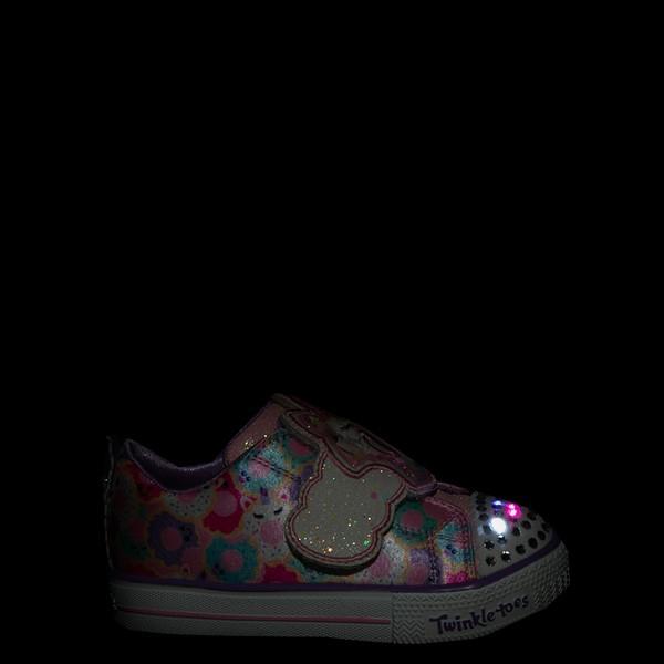 alternate view Skechers Twinkle Toes Shuffle Lites Sparkle Treats Sneaker - Toddler / Little Kid - Light Pink / MulticolorALT1