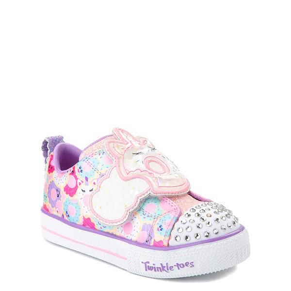 alternate view Skechers Twinkle Toes Shuffle Lites Sparkle Treats Sneaker - Toddler / Little Kid - Light Pink / MulticolorALT5