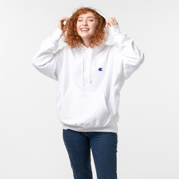 alternate view Womens Champion Reverse Weave Boyfriend Hoodie - WhiteALT1
