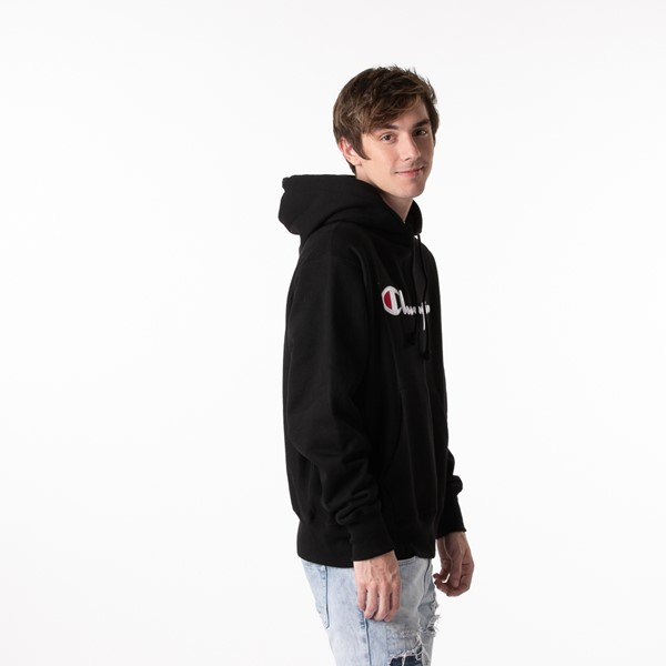alternate view Mens Champion Reverse Weave Hoodie - BlackALT3