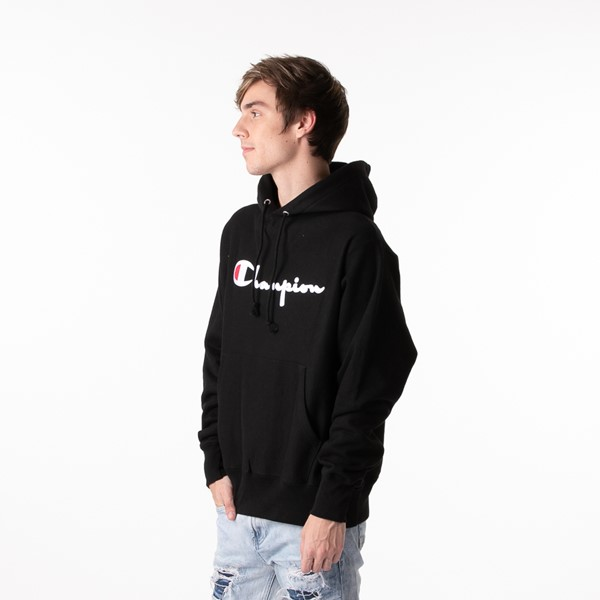 alternate view Mens Champion Reverse Weave Hoodie - BlackALT4