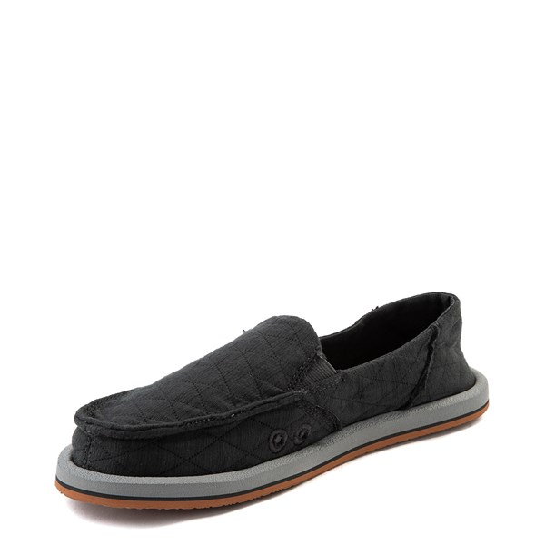 alternate view Womens Sanuk Donna Quilt Slip On Casual Shoe - Dark CharcoalALT3