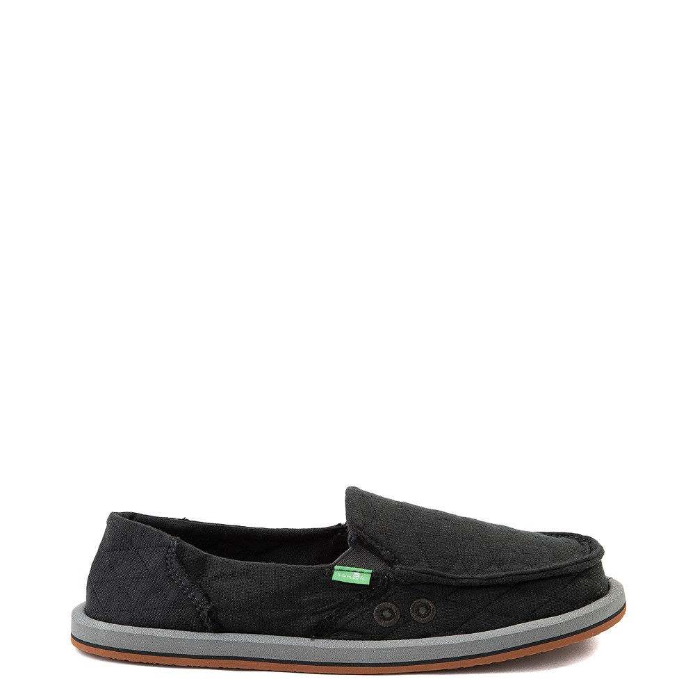Womens Sanuk Donna Quilt Slip On Casual Shoe - Dark Charcoal