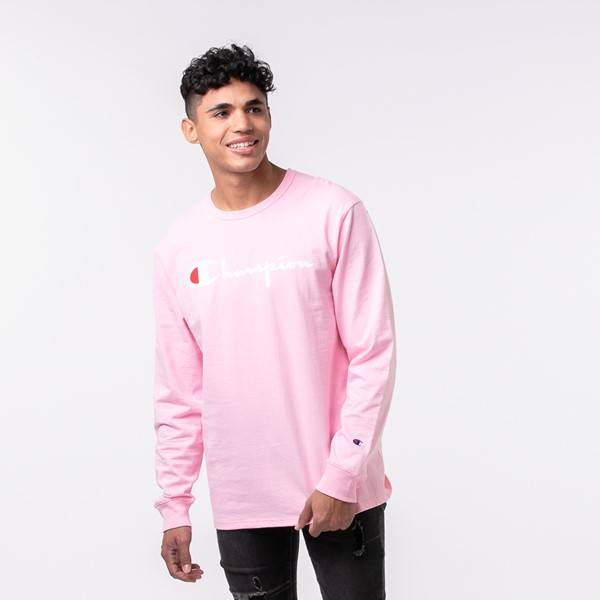 Main view of Mens Champion Heritage Long Sleeve Tee - Pink Candy