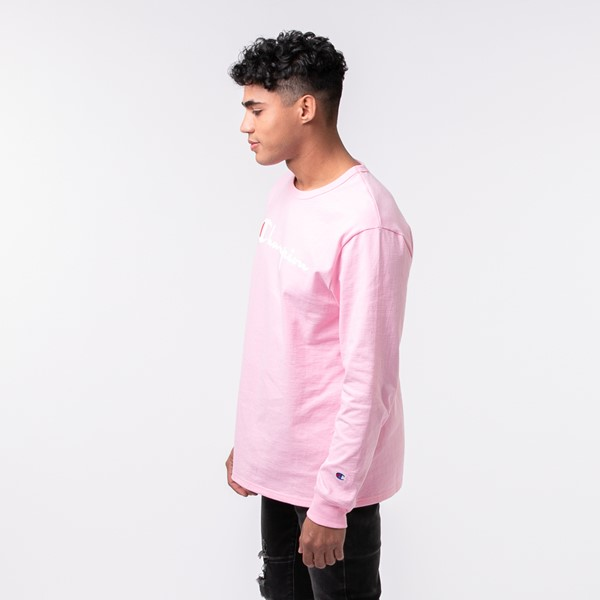 alternate view Mens Champion Heritage Long Sleeve Tee - Pink CandyALT3