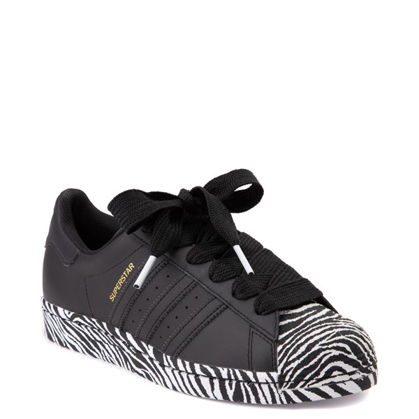 alternate view Womens adidas Superstar Athletic Shoe - Black / ZebraALT5