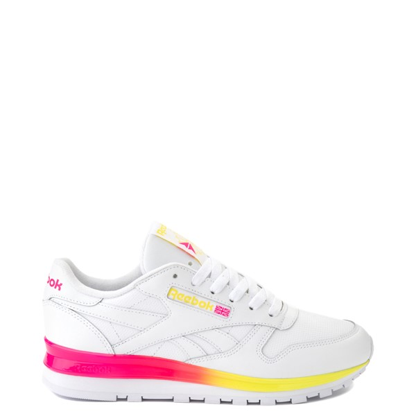 Womens Reebok Classic Athletic Shoe - White / Pink / Yellow