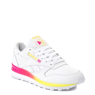 Alternate view of Womens Reebok Classic Athletic Shoe - White / Pink / Yellow