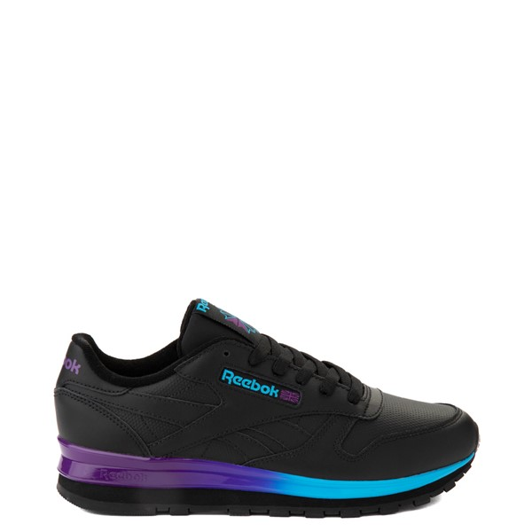 Womens Reebok Classic Leather Clip Athletic Shoe - Black / Purple