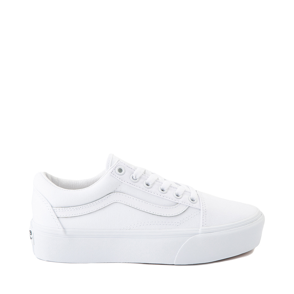 Vans Old Skool Platform Skate Shoe - White Monochrome