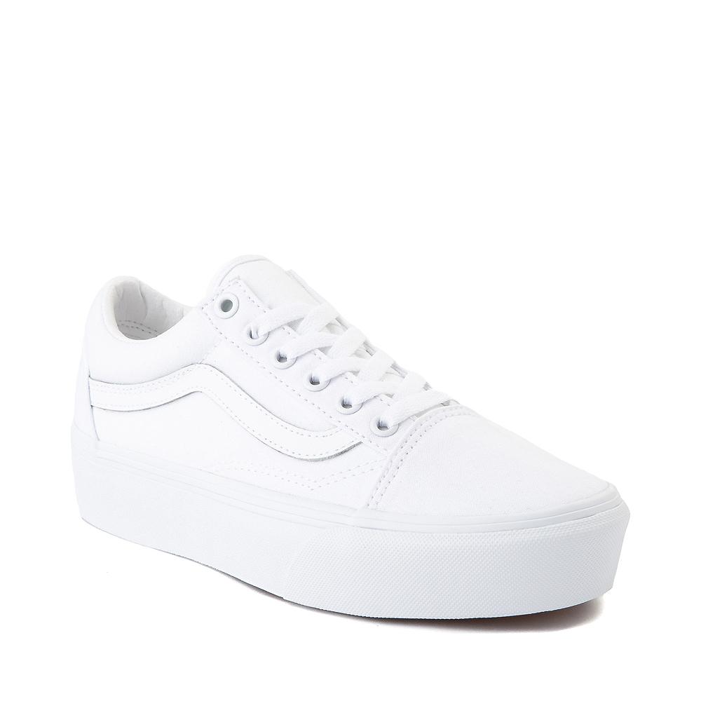 Vans Old Skool Platform Skate Shoe - White Monochrome